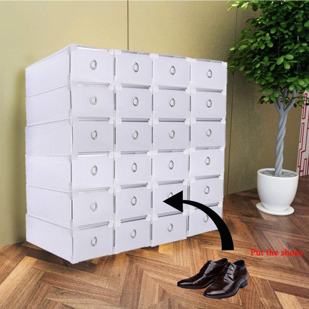 SHIOUCY 24 bo/îtes /à Chaussures Empilable Bo/îte de Rangement pour tiroir Bo/îte Rangement pour Chaussures bo/îte /à Chaussures empilable Rangement Organisateur de v/êtements