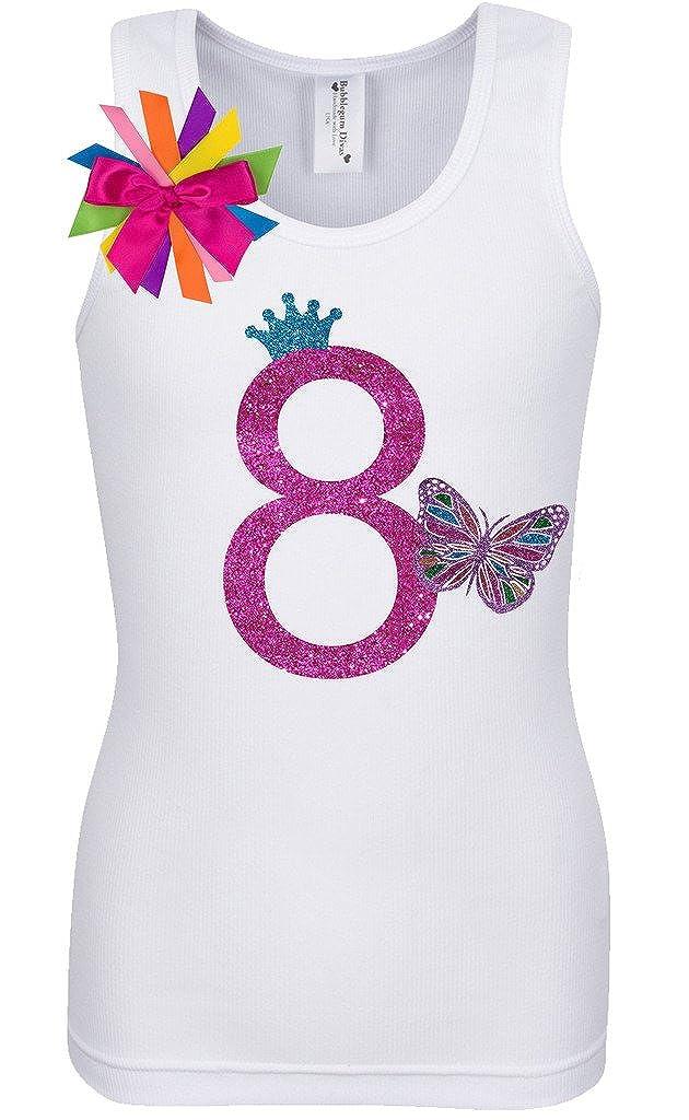 Bubblegum Divas Big Girls 8th Birthday Rainbow Butterfly Shirt