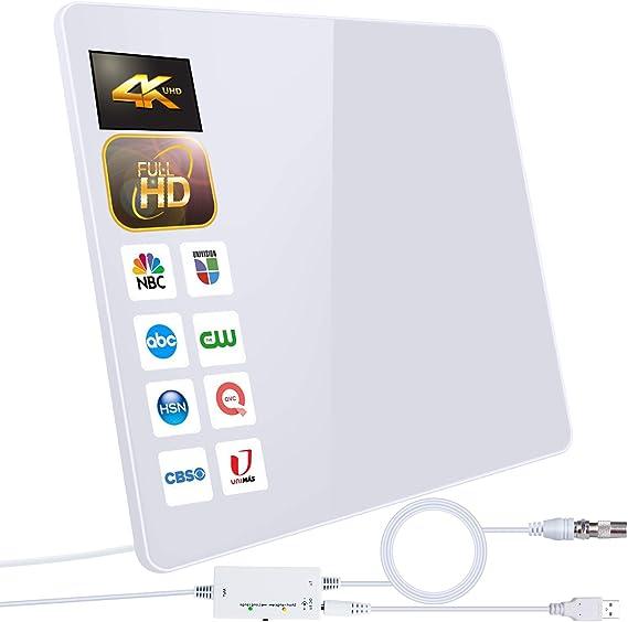 2021 Newest Antena de TV,Antena de TV Digital para Interiores de Alcance de 280KM con Amplificador Inteligente de Señal, Adecuada para Canales de TV ...