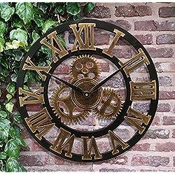 Large Shabby Chic Wall Clock, Eruner 18-Inch European Village Industrial Vintage Style Decorative Handmade Mechanism Non-Ticking Clocks with Roman Numerals Gold