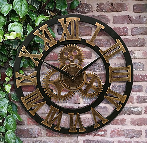 16 Wall Clock – Retro Vintage Handmade 3D Decorative Gear Wooden Kitchen Mechanism Clock With Movements for Housewarming Round Wall Decorative Clocks…