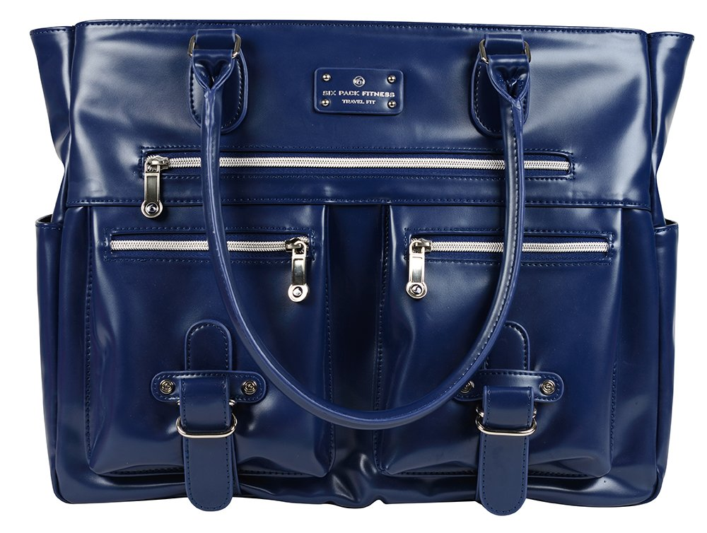 6 Pack Fitness Expert Renee Meal Management Tote Navy Blue