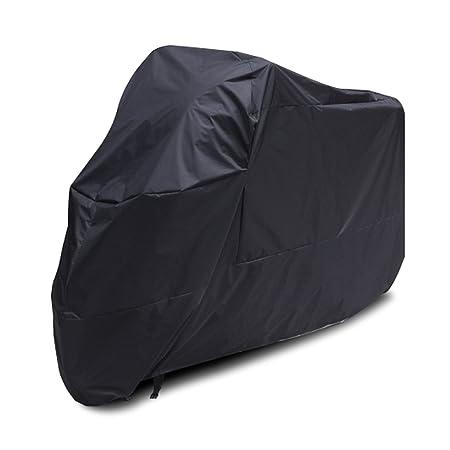 Surepromise Black Motorcycle Motorbike Waterproof Water Resistant Rain UV Protective Breathable Cover Outdoor Indoor with storage bag Large