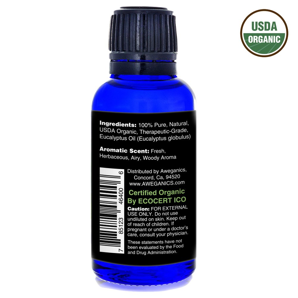 Aweganics Pure Eucalyptus Oil USDA Organic Essential Oils, 100% Pure Natural Premium Therapeutic Grade, Best Aromatherapy Scented-Oils for Diffuser, Home, Office, Personal Use - 1 OZ - MSRP $19.99 by AWEGANICS (Image #8)