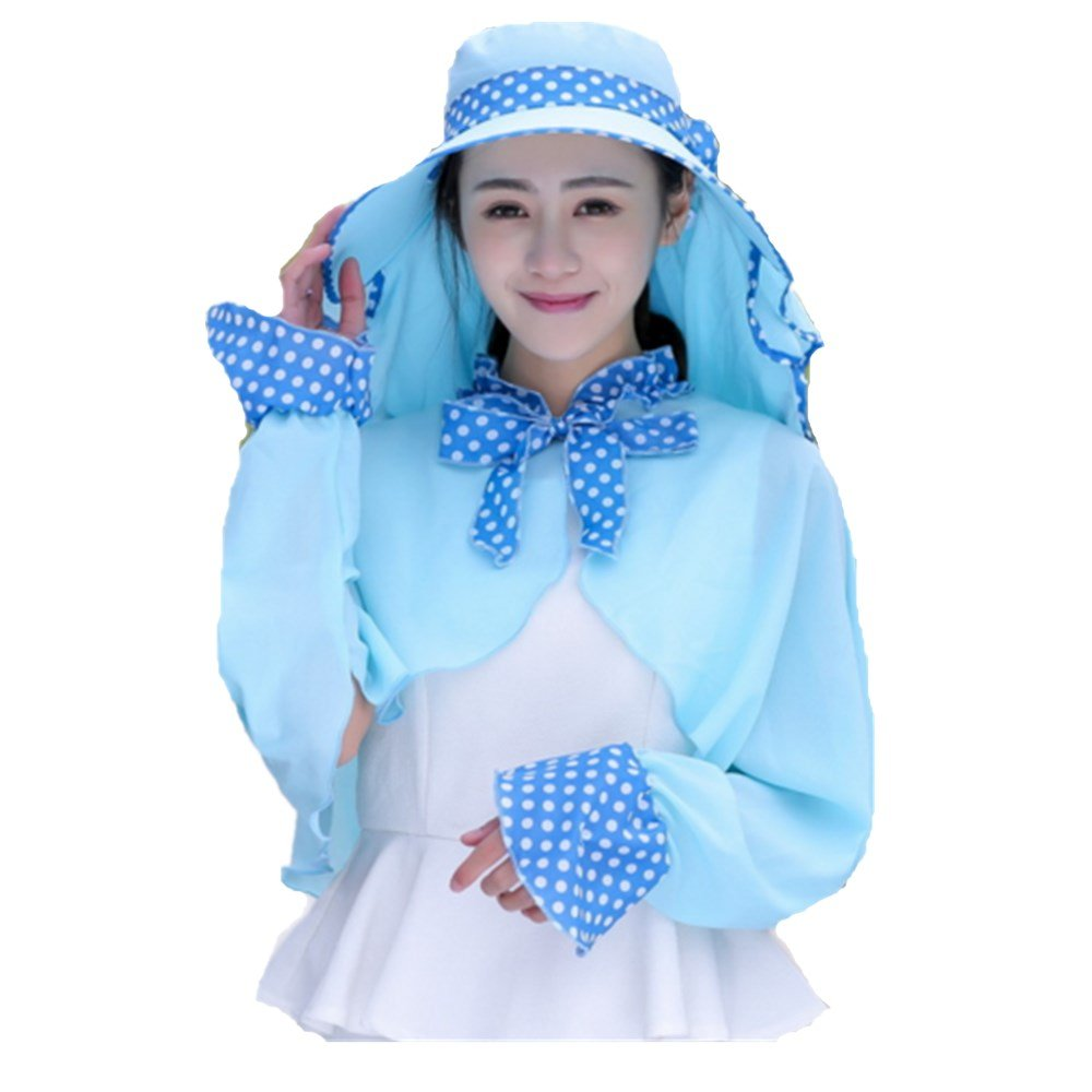 WENDYWU Shawl Hat Summer Outdoor Sunscreen Sun Hat Neck Cap UV Protection Suit Bee Hat(Blue)