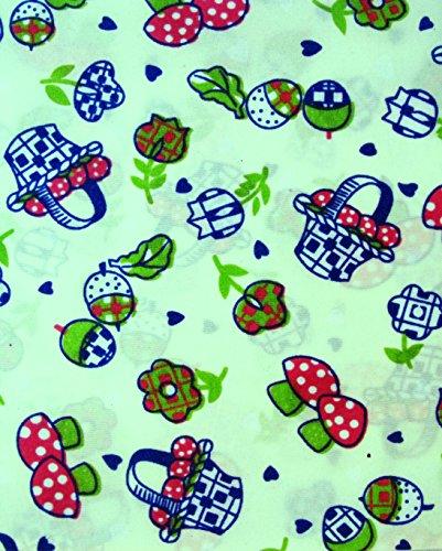 4 FAT QUARTERS ~ SPRING BASKETS FLOWERS MUSHROOMS ~ Quilt Fabric ~ CRAFTS ~ (Valentine Basket Craft)