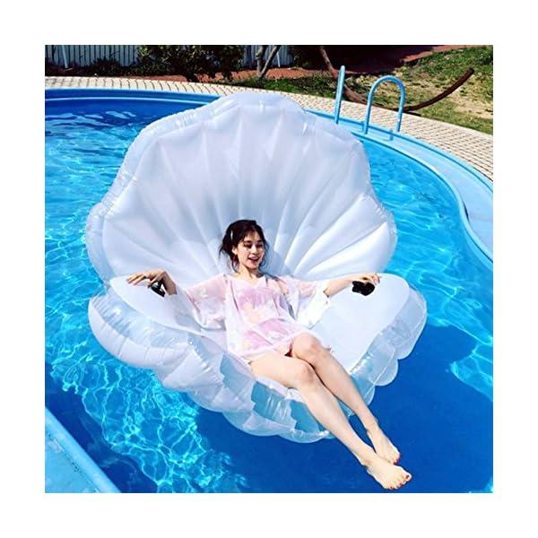 ZLYFA Piscina Gonfiabile di Bianco Shell per La Fila di Galleggiamento dell'Acqua della Chaise-Lounge della Sedia 1 spesavip