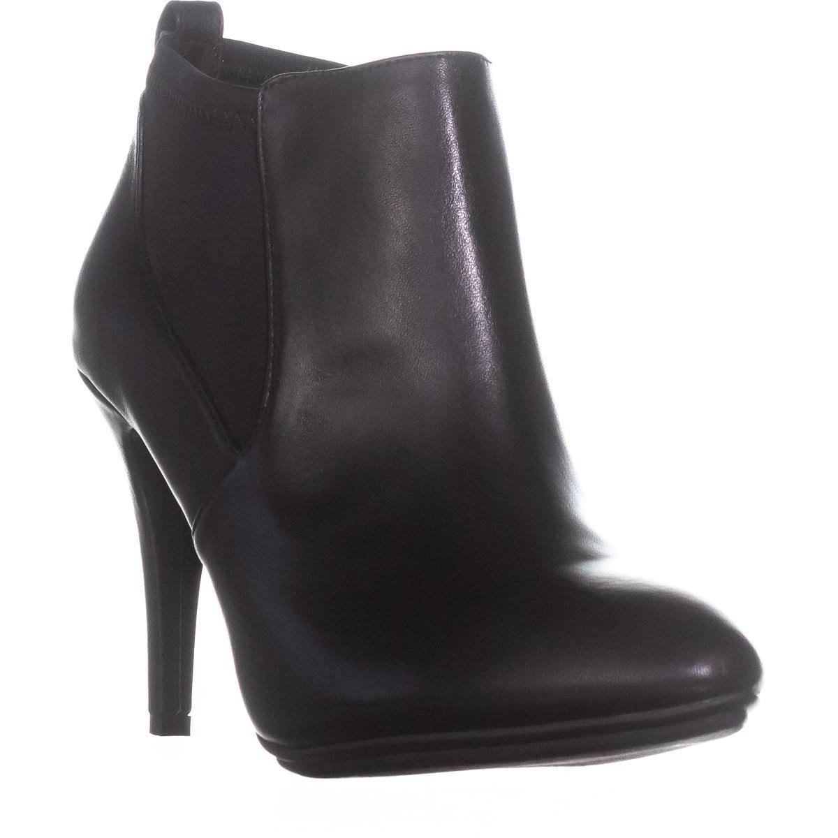 Black Leather Alfani A35 Steviee Pull On Booties, Black