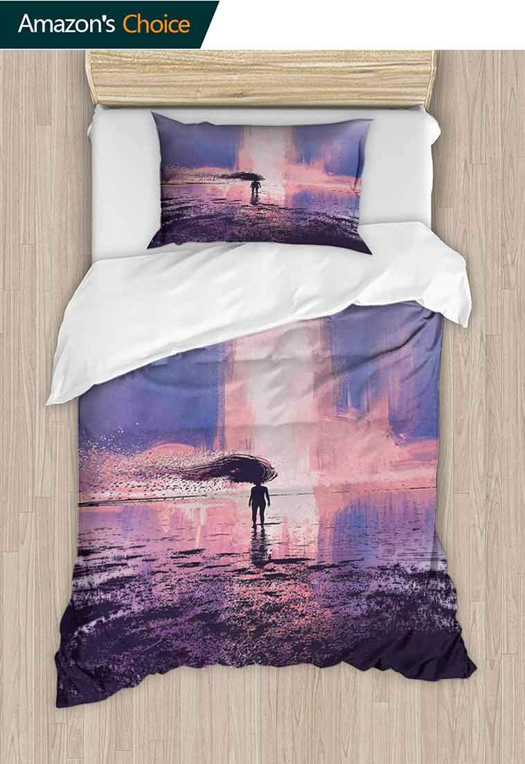 Fantasy DIY Duvet Cover and Pillowcase Set, Trippy Spiritual Person in Wind with Blowing Long Hair on The Water Serene Artwork, 3D Print 100% Polyester Fiber Quilt Cover & Pillowcases Pink Blue