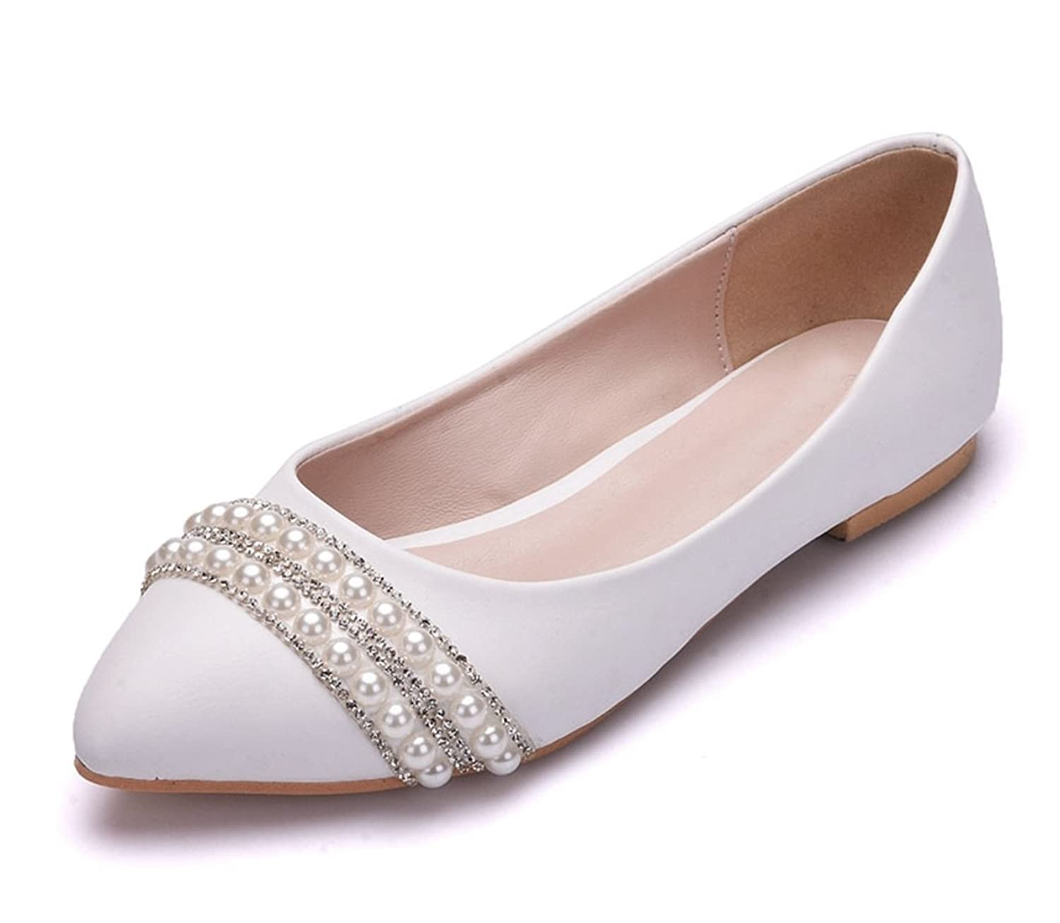 0c81de11fa4 cheap Minishion Womens Poited Toe Beaded Satin Wedding Dress Ballet Flats