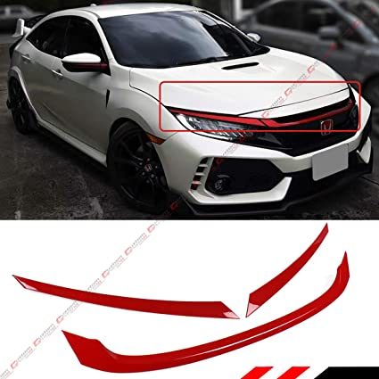Amazon.com: FITS FOR:2016-2018 HONDA CIVIC JDM GLOSSY RED ABS FRONT GRILL TRIM COVER GARNISH - 3PC: Automotive