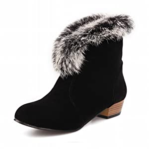 Latasa Women's Fashion Ankle-high Low Heel Chunky Winter Boots, Faux-fur Decoration (8, black)