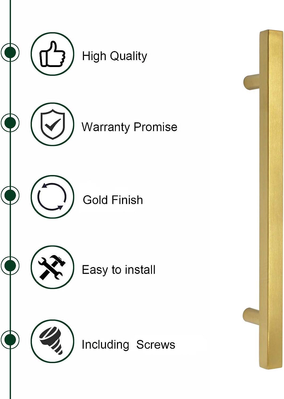 Hole Center: 64mm Gold Acciaio inossidabile 10/x Probrico T bar bagno oro armadio da cucina manopola cassetto tira maniglie in acciaio INOX da letto com/ò in ottone spazzolato