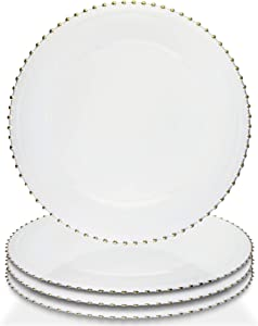 """Elle Decor Beaded Set of 4 Charger Large 13"""" Decorative Melamine Service Plate for Home & Professional Fine Dining-For Catering Events, Dinner Parties, Weddings, White"""