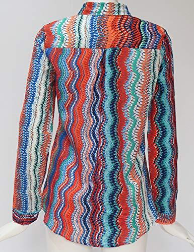 multicolore Tops Casual Chemisier Cov Longue Hauts Taille Chemise Ray Soie Shirts de Grande Tee Femme T Classique Blouse V Chic Mousseline lgant C Boutonn Tunique Manche 7nn4AqR
