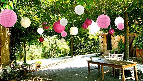 Sonnis Paper Lanterns 12'' 10'' 8'' 6'' Round lanterns for Birthday Wedding Baby Showers Party Decorations pink (12pack) by Sonnis (Image #3)
