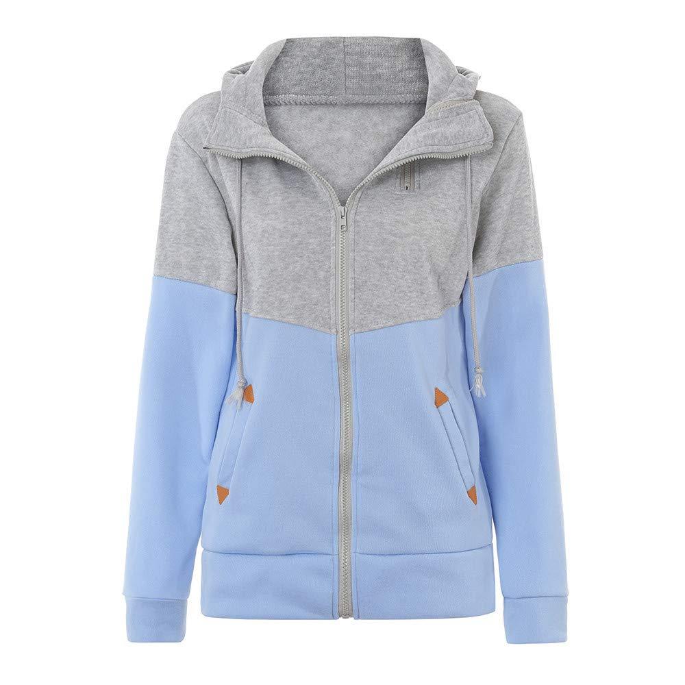 Inverlee Women Plus Size Zipper Hooded Loose Color Matching Pocket Sweatshirt Coat