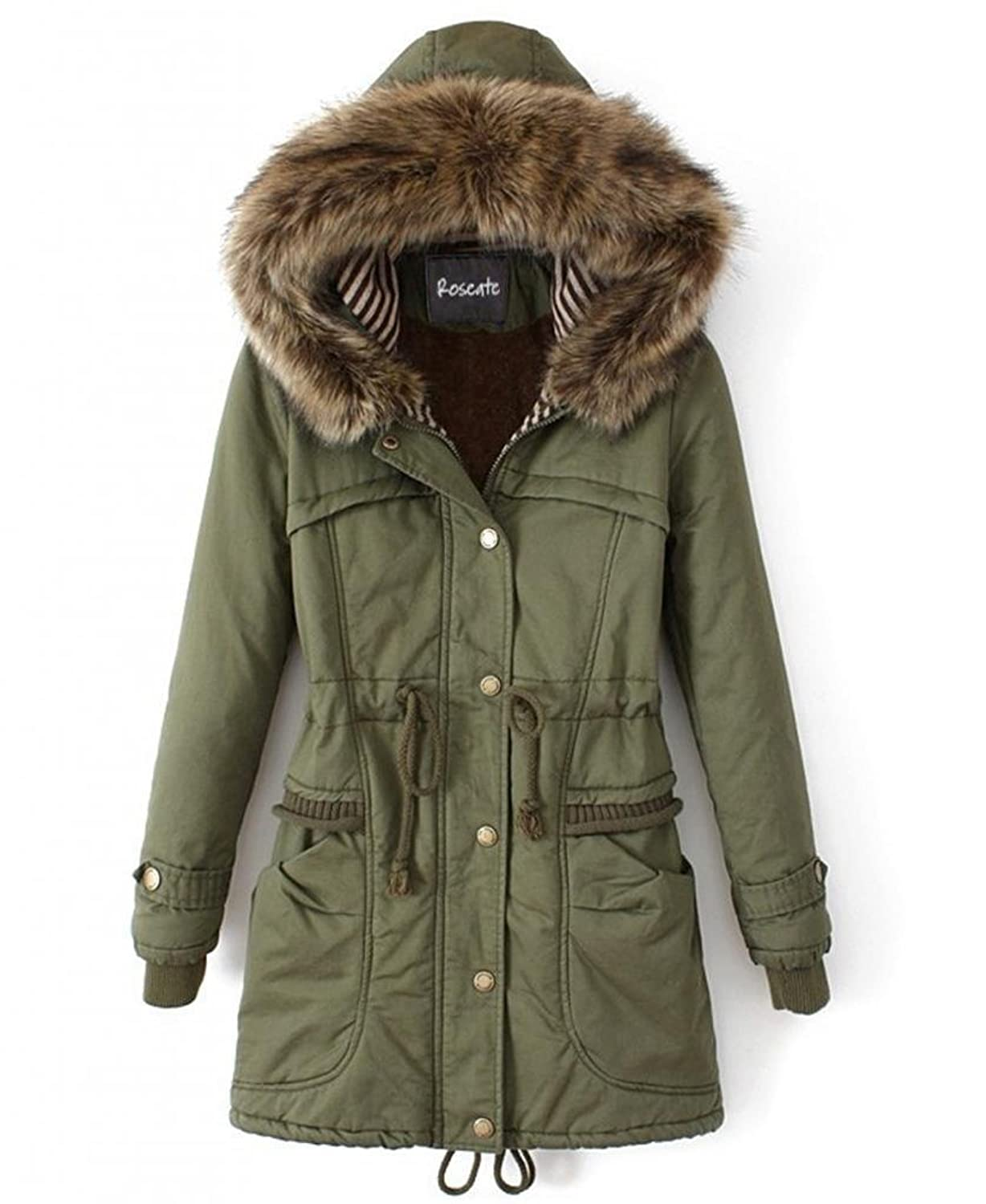 Amazon.com: Roseate Women's Long Quilted Coat Green Casual Parkas ...