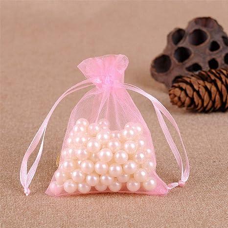UNHO 100 Piezas Bolsas de Organza para Boda Bolsitas Transparentes para Joyas Regalos Recuerdos Caramelos Dulces Fiestas 13 x 18cm Color Rosa