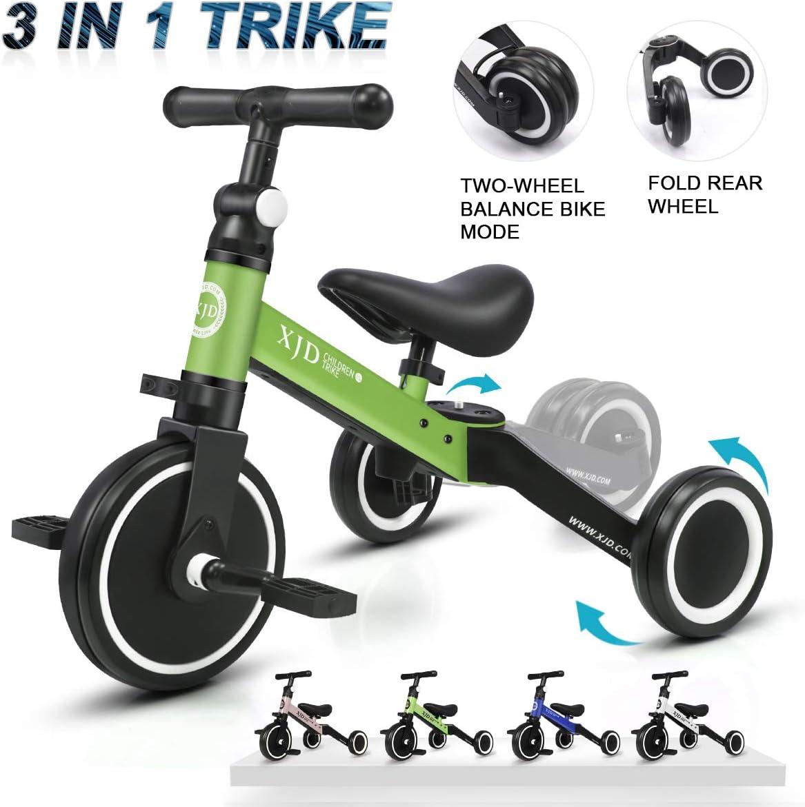 XJD 3 en 1 Triciclo para Niños con Pedales Ligero y Plegable Triciclo Bicicleta para Niño y Niña de 2 a 4 años con CE Certificación con Bolsa de Transporte (Verde)