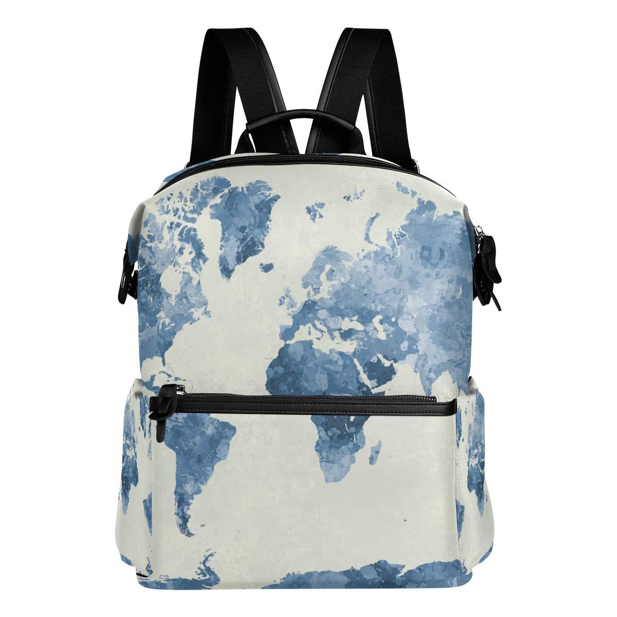 FAJRO - Zaino da viaggio con mappa del mondo, colore  blu acquerello