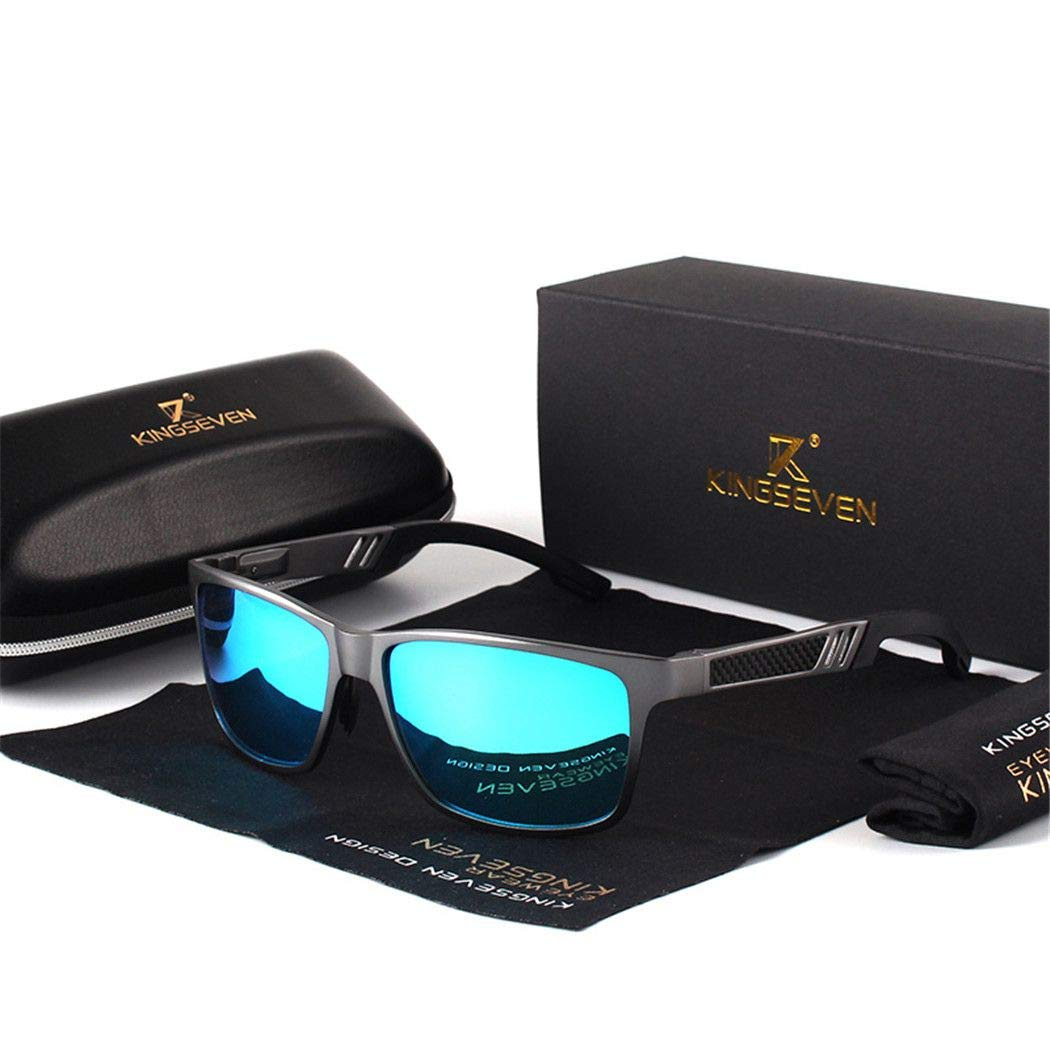 Men Polarized Sunglasses Aluminum Magnesium Sun Glasses Rectangle Shades For Men Gray Blue
