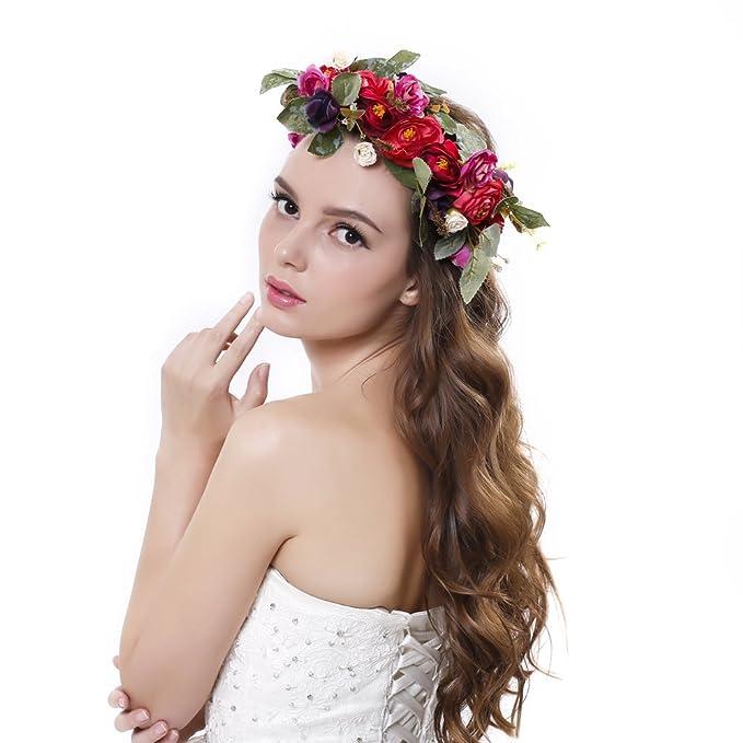Winslet Mujeres flor corona corona diadema floral boda guirnalda pelo flores  banda  Amazon.es  Ropa y accesorios 889c90ab68fc