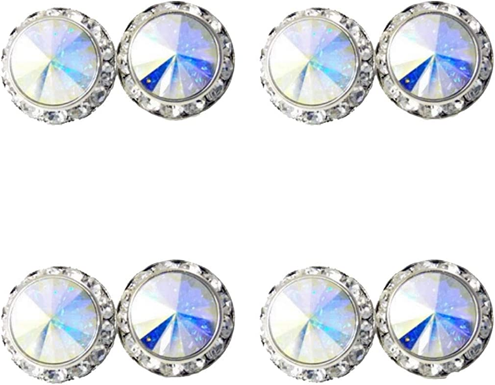 4 Pairs 15mm Rhinestone Round Shaped Acrylic Stone Inside Crystal Ear Studs for Dance Competitions Stage Performance Bridal Party Earrings Jewelry