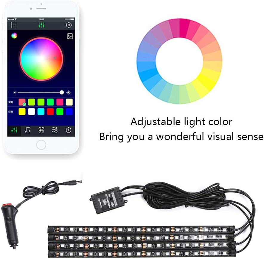 Car Led Strip Light 48 led RGB Car Interior Light Waterproof Multi Color Strip Light Bluetooth App Control Atmosphere Light Under Dash Lighting Kits for iPhone Android Smart Phone
