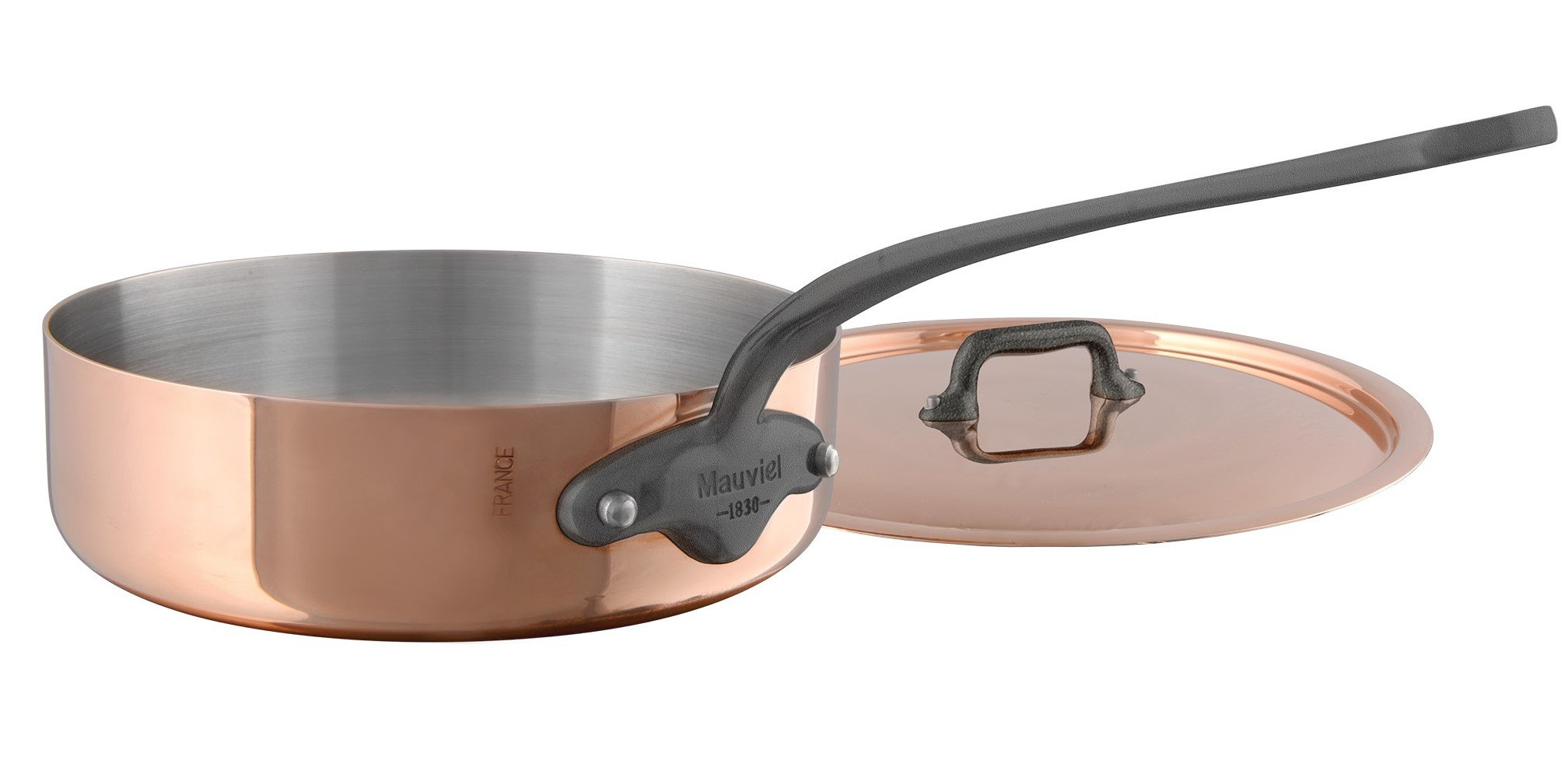 Mauviel M'Heritage M150C 6451.29 Copper Saute Pan with Lid. 28cm/11'' 5.2L/5.5 quart with Cast Stainless Steel Iron Eletroplated  Handle