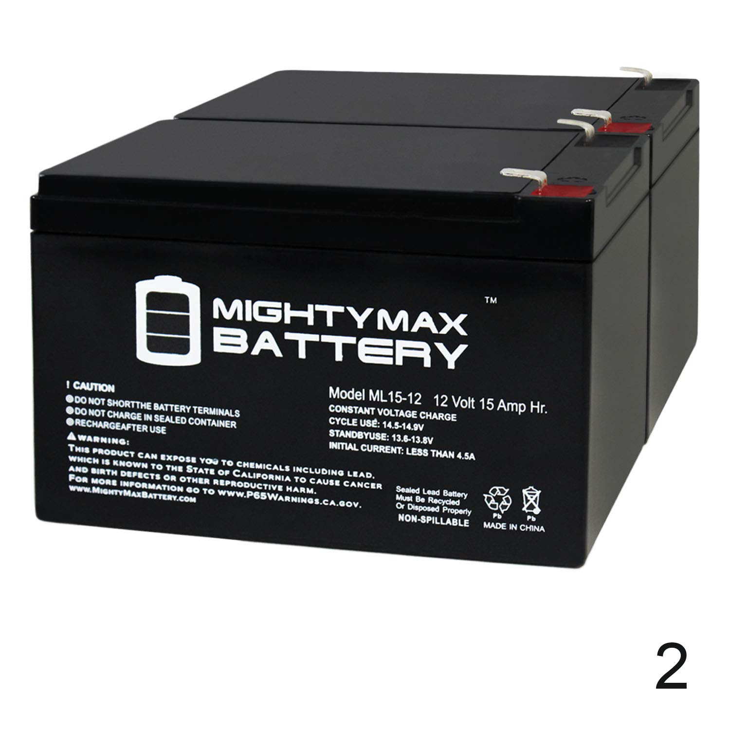 Mighty Max Battery 12V 15AH F2 Replaces Pride Go Go Elite Traveller - 2 Pack Brand Product