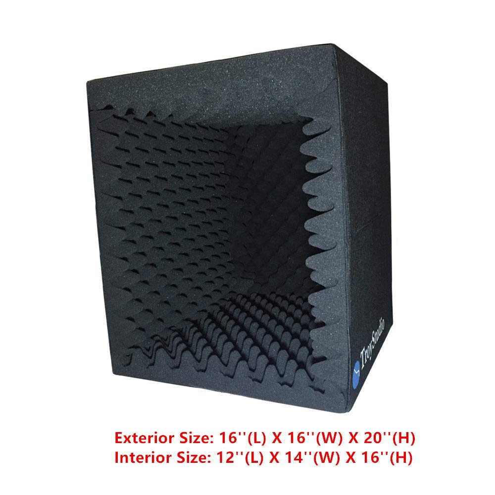 TroyStudio Portable Sound Recording Vocal Booth Box - |Reflection Filter & Microphone Isolation Shied| - |Large, Foldable, Stand Mountable, Super Dense Sound Absorbing Foam|(Black) by TroyStudio (Image #1)