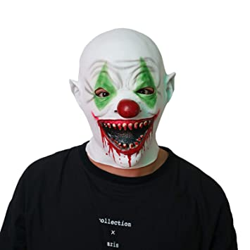 SonMo Mascara Halloween Payaso Asesino Mascara Payaso Adulto Payaso Dientas y Bocas con Sangre