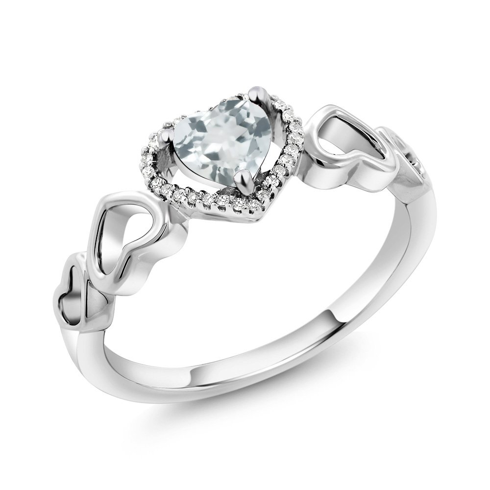 10K White Gold 0.58 Ct Heart Shape Sky Blue Aquamarine with Diamond Accent Engagement Ring (Ring Size 9)