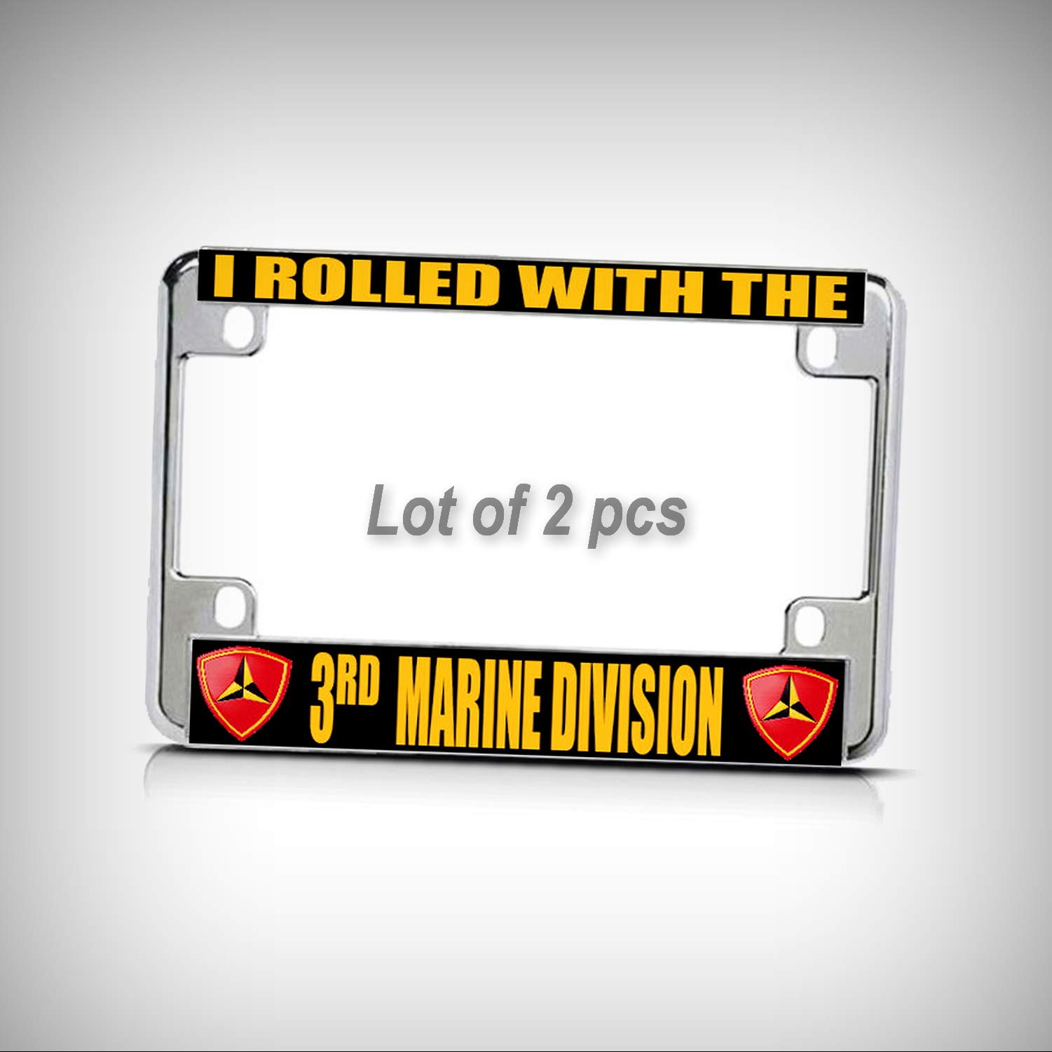 Set of 2 Pcs - I Rolled with 3RD Marine Division Chrome Metal Motorcycle Tag Holder License Plate Frame Decorative Border