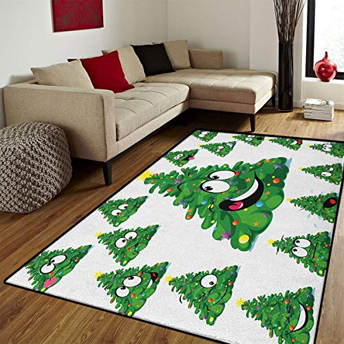 Christmas,Door Mats for Inside,Christmas Tree Cartoon with Star and Different Funny Face Expressions,Door Mat Indoors Bathroom Mats Non Slip,Green Yellow White,4x6 ft