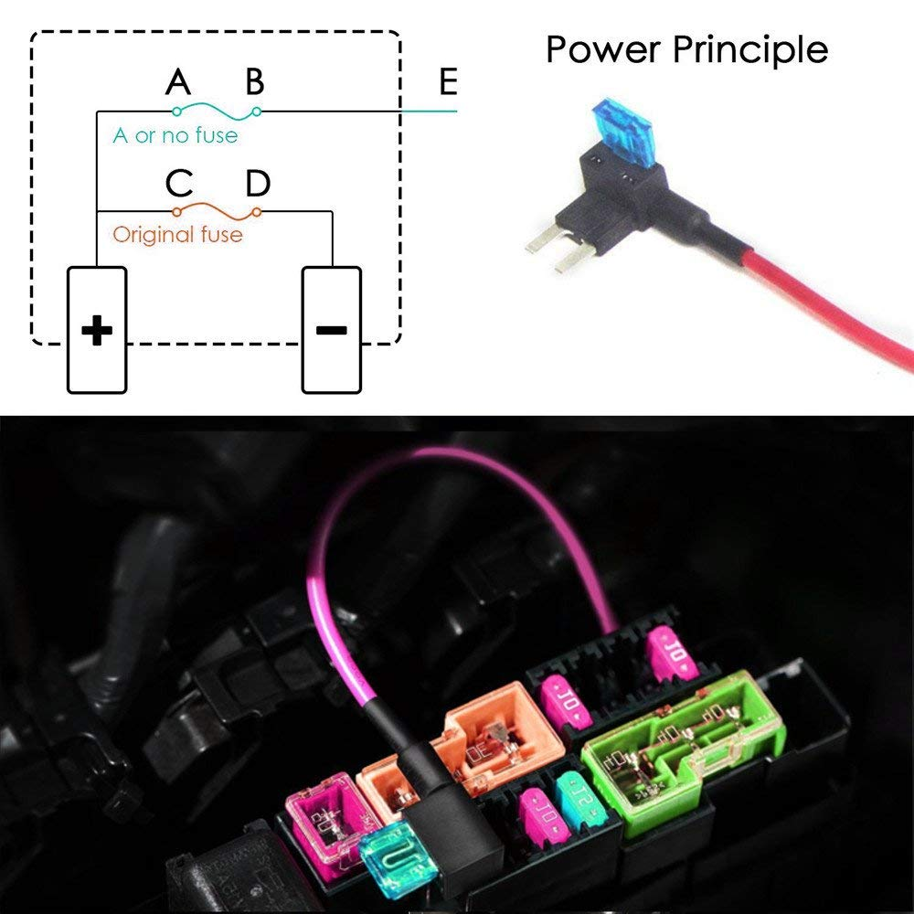 MCIGICM 10Pcs 12V Car Add-a-Circuit Fuse TAP Adapter Mini ATM APM Blade Fuse Holder