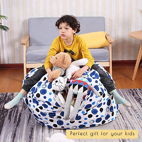 EDCMaker Kids Comfy Chair Cover, Perfect for Storing Stuffed Animals, Clean Up Your Room And Play Area, Fashion Blue Polka-Dot Design - 38'' by EDCMaker (Image #3)