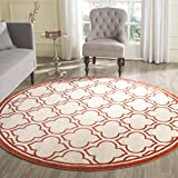 Cheap Safavieh Amherst Collection AMT412F Ivory and Orange Indoor/Outdoor Round Area Rug (7′ Diameter)