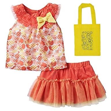 ac597b178a12 Amazon.com  Little Lass Baby Girls  2 Piece Chiffon Top   Skirt ...