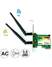 Ubit AC 1167Mbps+Bluetooth4.2 WiFi Card, 802.11 2.4Ghz-300Mbps/5Ghz-867Mbps PCIE Wireless WiFi Network Card Dual Band Gigabit Adapter,Pci-e Wireless WI-FI Adapter Network Card for PC(WIE8260)