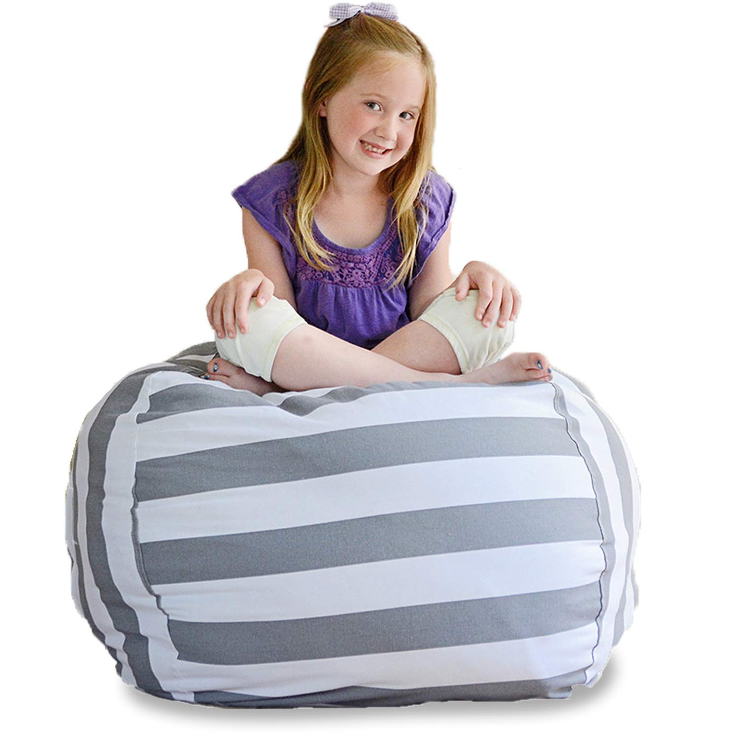 Creative QT Extra Large Stuff 'n Sit - Stuffed Animal Storage Bean Bag Chair for Kids - Pouf Ottoman for Toy Storage - Available in 2 Sizes and 5 Patterns (38'', Grey/White Stripe)