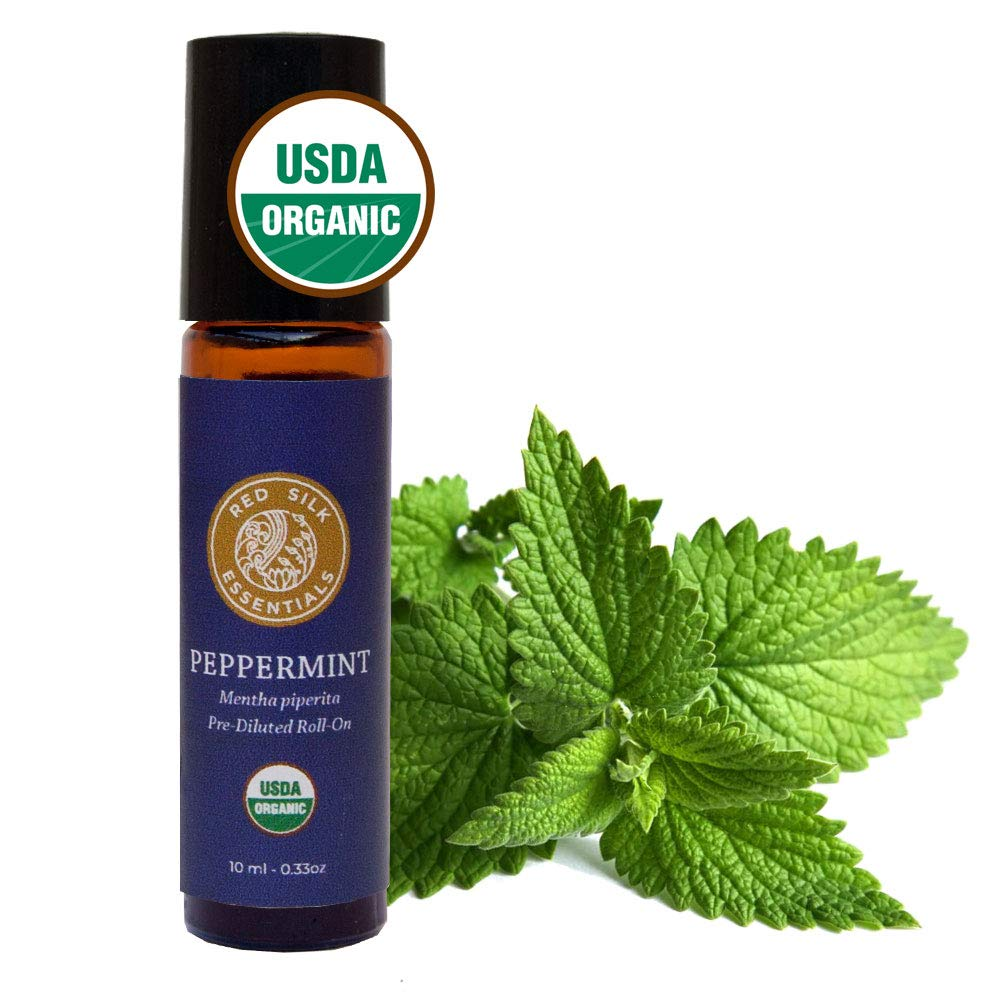 Organic Peppermint Essential Oil, 100% Pure USDA Certified Organic Mentha Piperita - 10ml Pre-diluted Roll-on with Stainless Steel Roller Ball