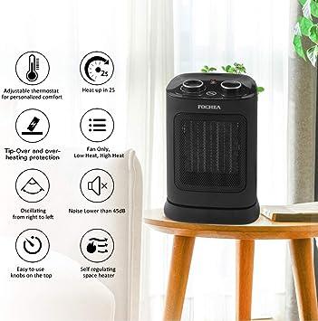 FOCHEA Calefactor Cerámico de Aire Caliente y Frio 1800W Estufa ...