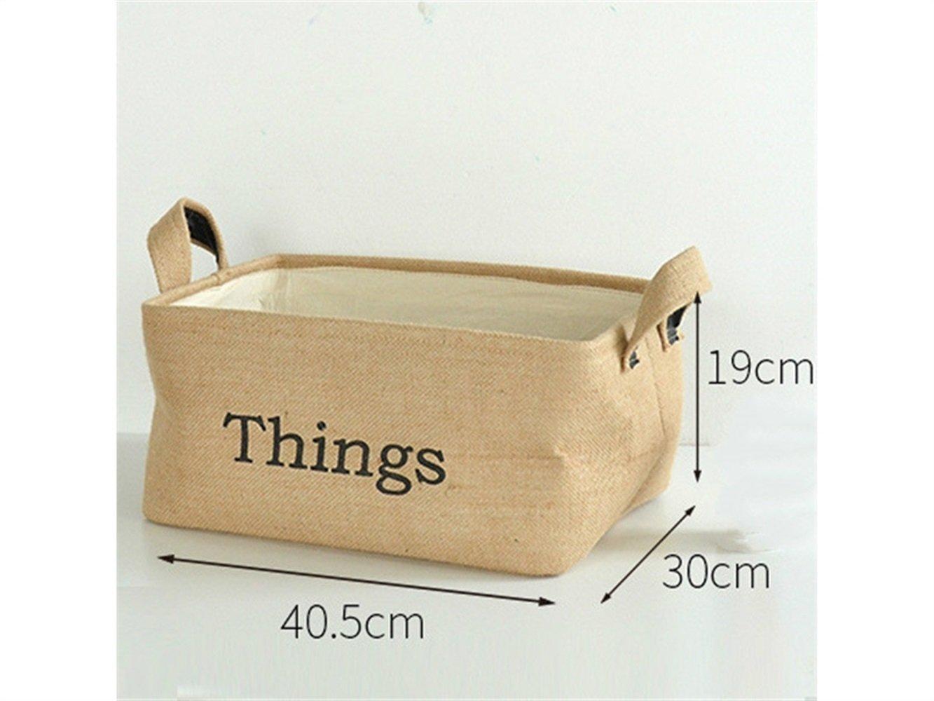 Gelaiken Lightweight Things Pattern Storage Box Jute Storage Bag Sundries Storage Box(Jute Colour)