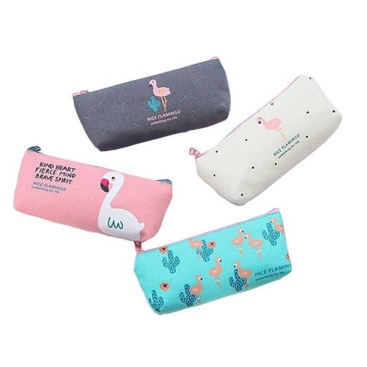 BIGBOBA 4 pcs Mini Canvas monedero cartera de mujer bolso monedero pequeño simpático Bolsa de almacenamiento para llaves, auricular, pintalabios