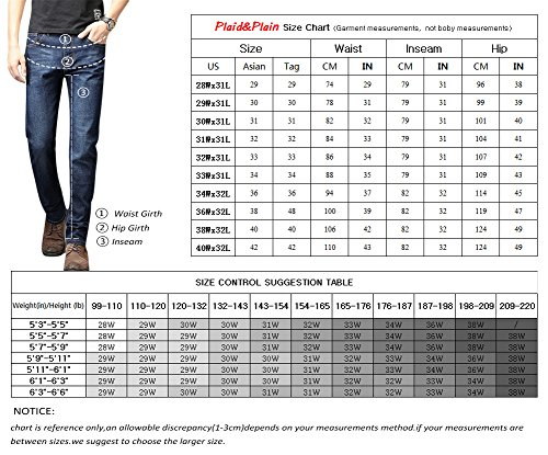 Plaid&Plain Men's Slim Tapered Jeans Stretch Skinny Jeans Lightweight Jeans LightBlue 30 by Plaid&Plain (Image #3)
