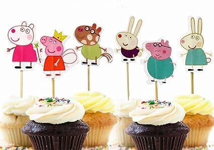Amazon Com Yunko 24 Pcs Cute Peppa Pig Theme Party Decorative