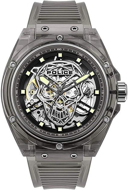Police watches translucent orologio uomo analogico automatico con cinturino in silicone pl.15924jpb-02pa