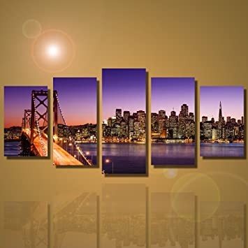Framed 5 Panels San Francisco Bay Bridge Canvas Wall Art Print on Canvas  for Home Decoration